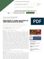 Miguel Reale_ A análise sistemática da visão tridimensional do direito