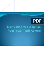 Justification for Exemption From Power Tariff Control-120502