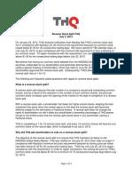 THQ Reverse Stock Split FAQ July 2 2012