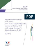 Rapport BEATT 2011 sur l'accident ferroviaire de Saint-Médard (Ille-et-Vilaine)