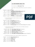 Programme Live On Docks 2012