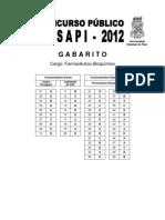 Gabarito Farmac Bioquimico Sesapi2011