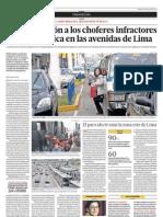 La fiscalización a los choferes infractores aún no se aplica en las avenidas de Lima