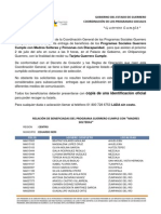 PADRÓN GUERRERO CUMPLE REGIÓN CENTRO, MUNICIPIO EDUARDO NERI