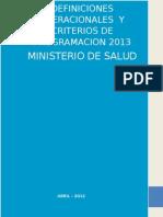 Definiciones operacionales 2013 DE PROGRAMACIÓN   MINISTERIO DE SALUD