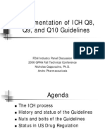 Implementation of ICHQ8 Q9 & Q10 Guidelines