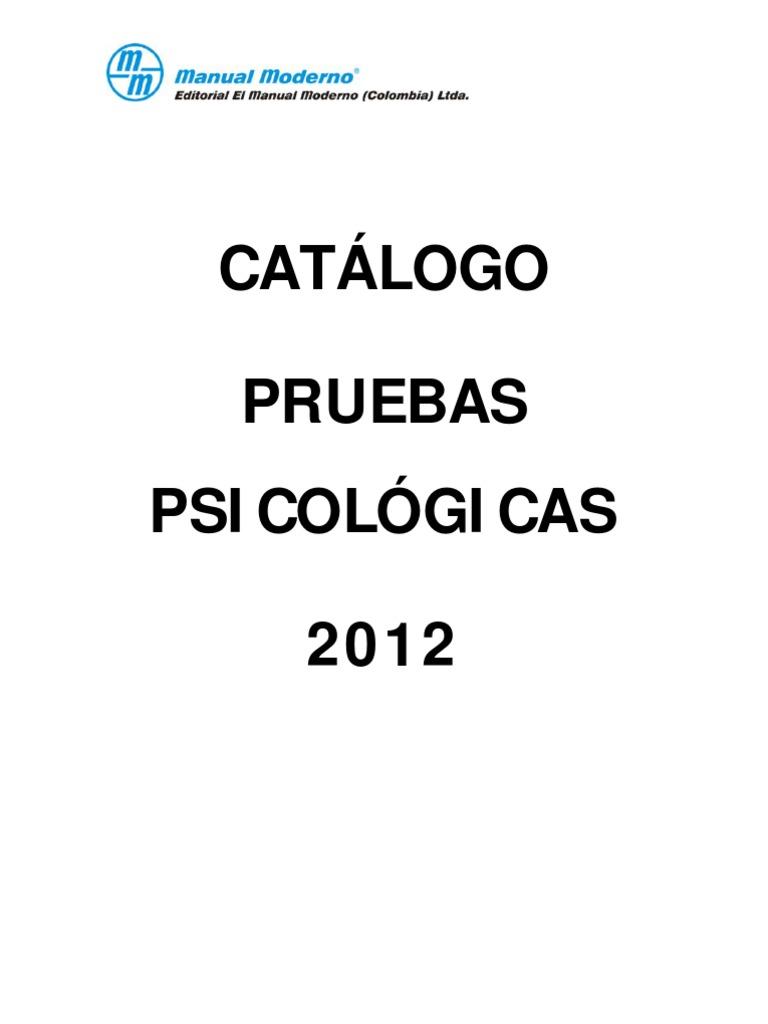 CATALOGO PRUEBAS PSICOLOGICAS AÑO 2012 (1)