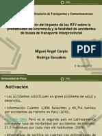 Evaluación del impacto de las RTV sobre la probabilidad de ocurrencia y la fatalidad de accidentes de buses de transporte interprovincial