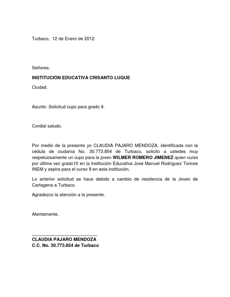 Carta solicitud cupo academico for Horario oficina inem