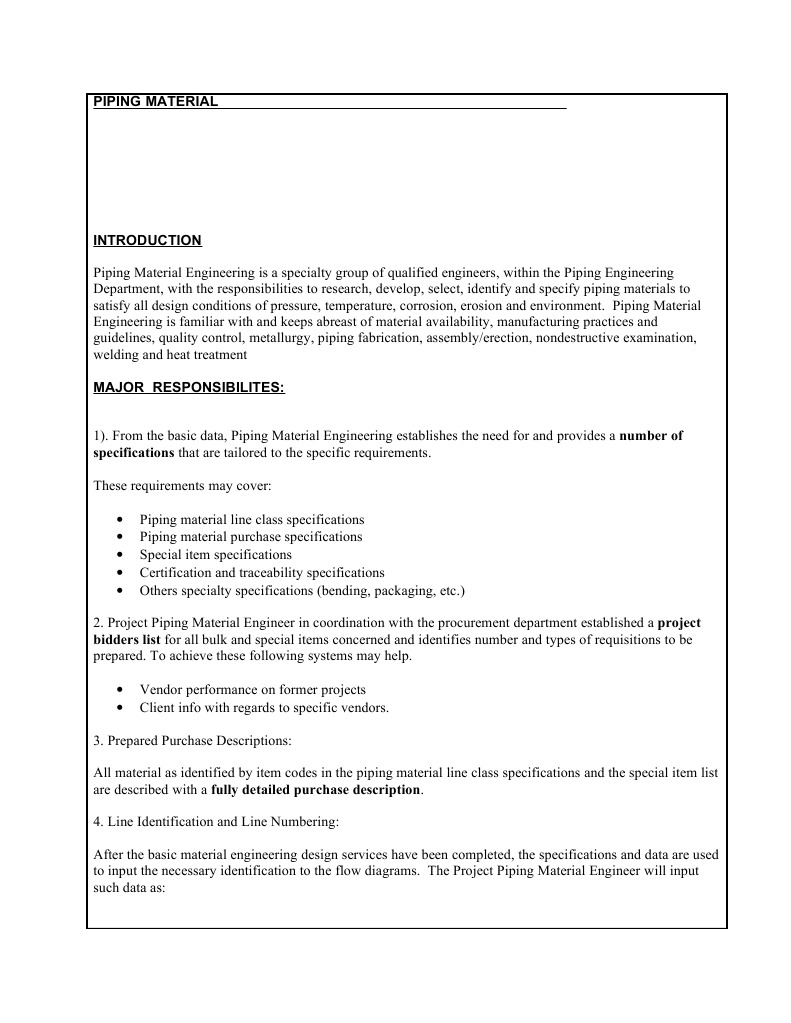 Piping Engineer Resposibilities | Specification (Technical Standard) | Pipe  (Fluid Conveyance)
