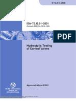 ISA 75.19.01 Hydrostatic Testing of Control Valve