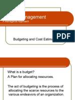 Budgeting n Cost Estimation