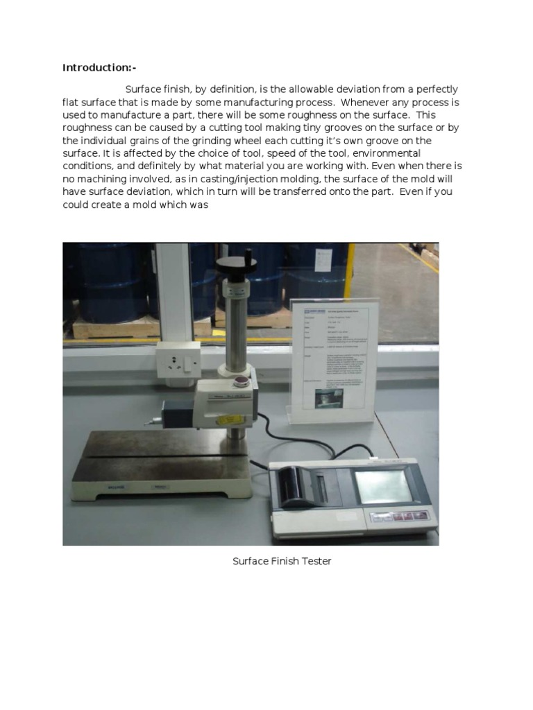 Surface Roughness Test Surface Roughness Applied And