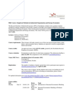 PhD Course Empirical IO Wolak Stockholm 2010 - Course Outline - May 3