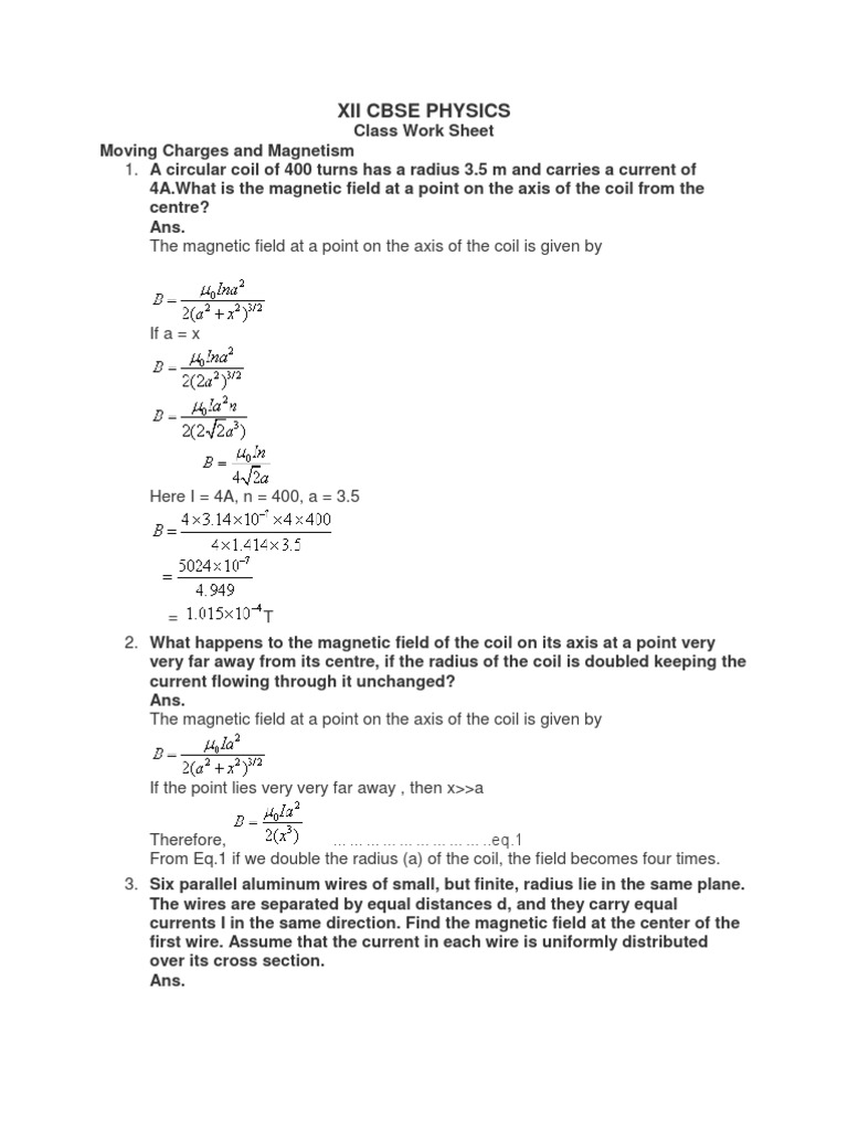 Worksheets Reflection And Refraction Worksheet class worksheet moving charges and magnetism magnetic field electric current