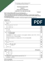 Barem de corectare BAC 2012 - Matematica M1