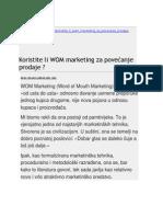 Koristite li WOM marketing za povećanje prodaje