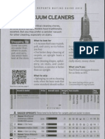 Consumer Reports Buying Guide 2012 - Vacuum Cleaners