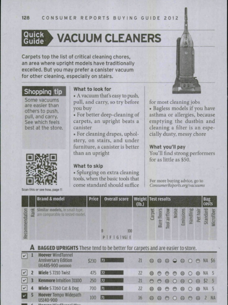 Consumer Reports Buying Guide 2012 - Vacuum Cleaners | Vacuum Cleaner |  Domestic Implements