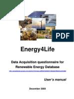 Energy4Life Renewable Energy Database User's Manual