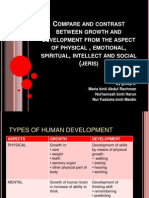 Compare and Contrast Between Growth and Development From