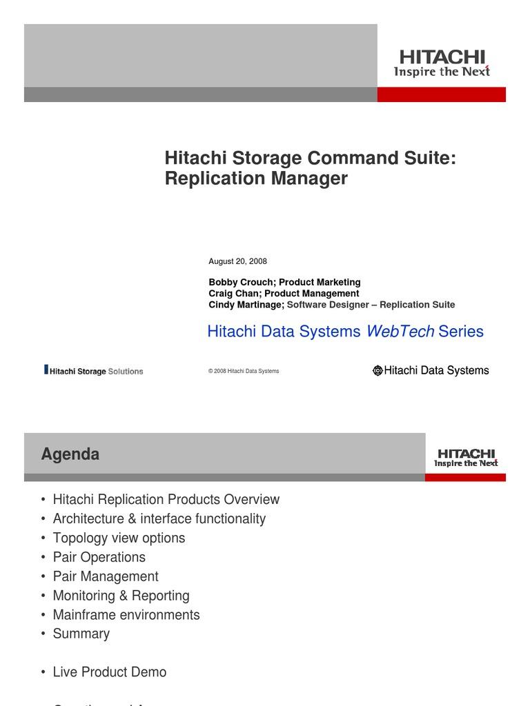 Hitachi Storage Command Suite Replication Manager   Replication