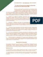 Conclusiones del IV Taller de Comunicación Indígena y Desarrollo