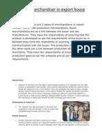 Role of Merchandiser in Export House