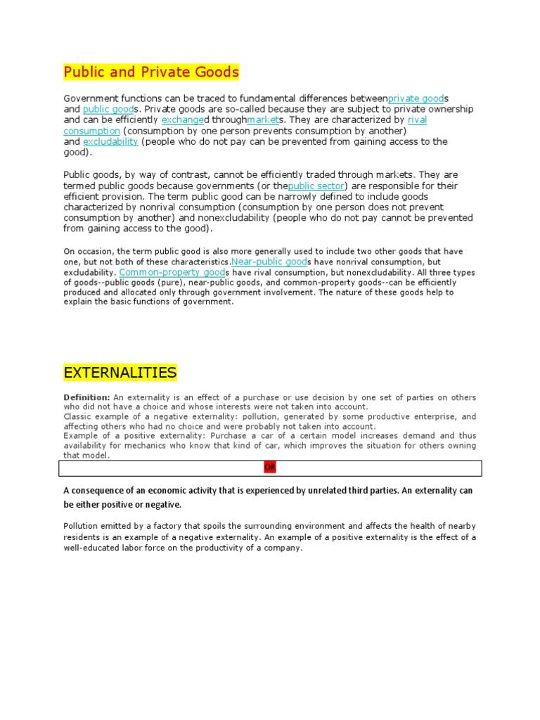 Geeb Prep 1 Externality Public Good