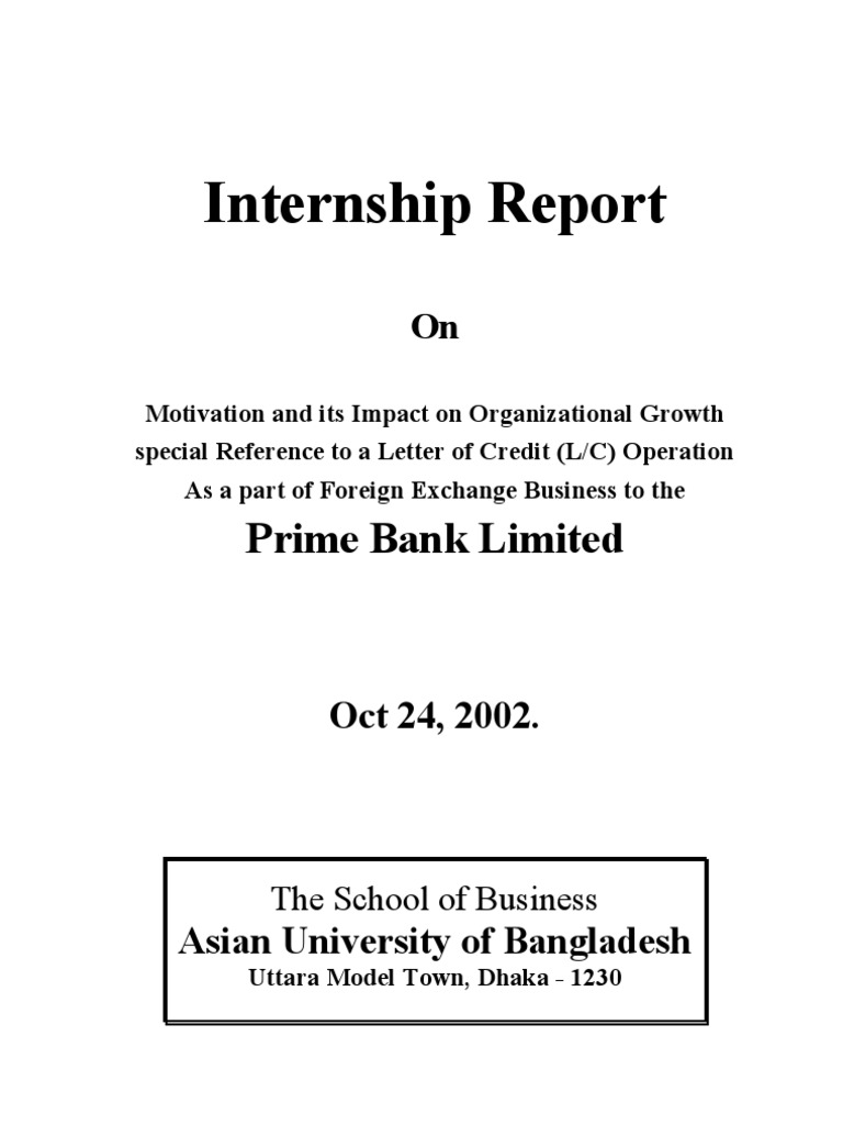 prime bank internship report