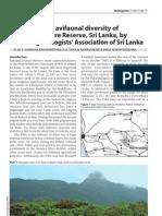 Birds diversity of Samanala Nature Reserve (Sri Lanka)
