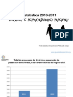 Estatisticas de Divorcios e Incumprimentos Responsabilidades Parentais 2010-2011