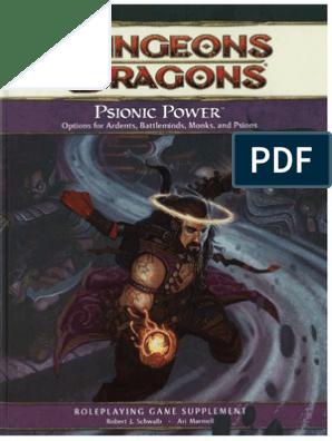d&d 4e - Psionic Power   Gary Gygax Games   Tsr (Company) Games