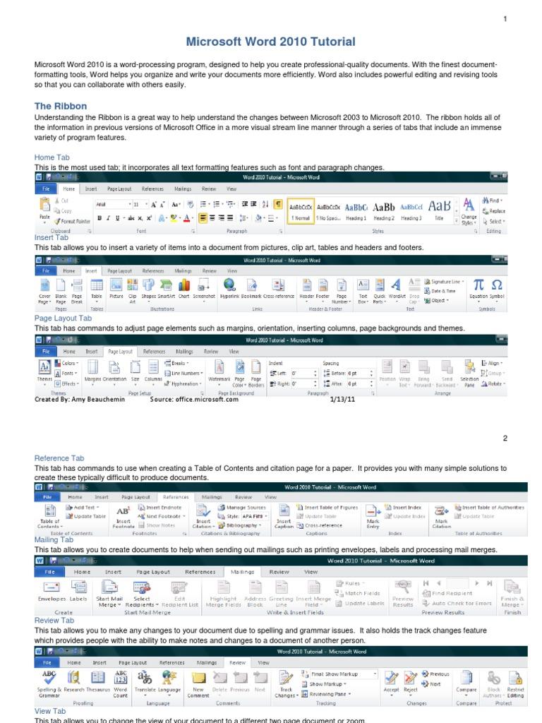 Microsoft Word 2010 Tutorial | Microsoft Word | Page Layout
