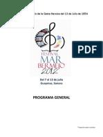 Programa General Festival Mar Bermejo 2012