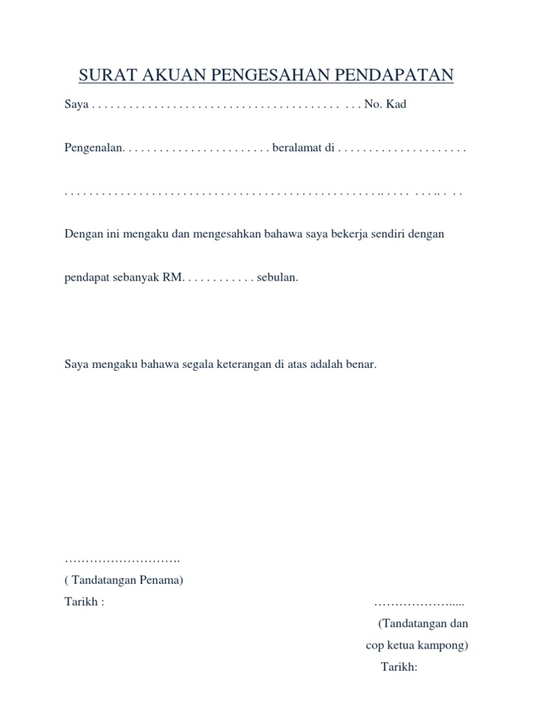 Surat Akuan Pengesahan Pendapatan