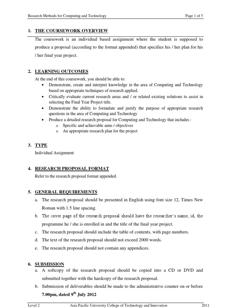 research proposal assignment
