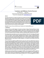 Application of Consistency and Efficiency Test for Forecasts
