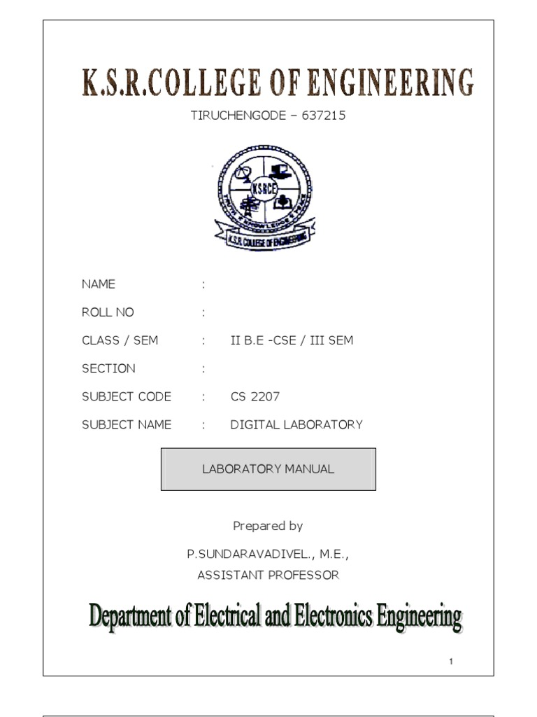 Digital Lab Manual for CSE & IT - Anna Univeristy Chennai Syllabus - 2012 |  Hardware Description Language | Digital Electronics