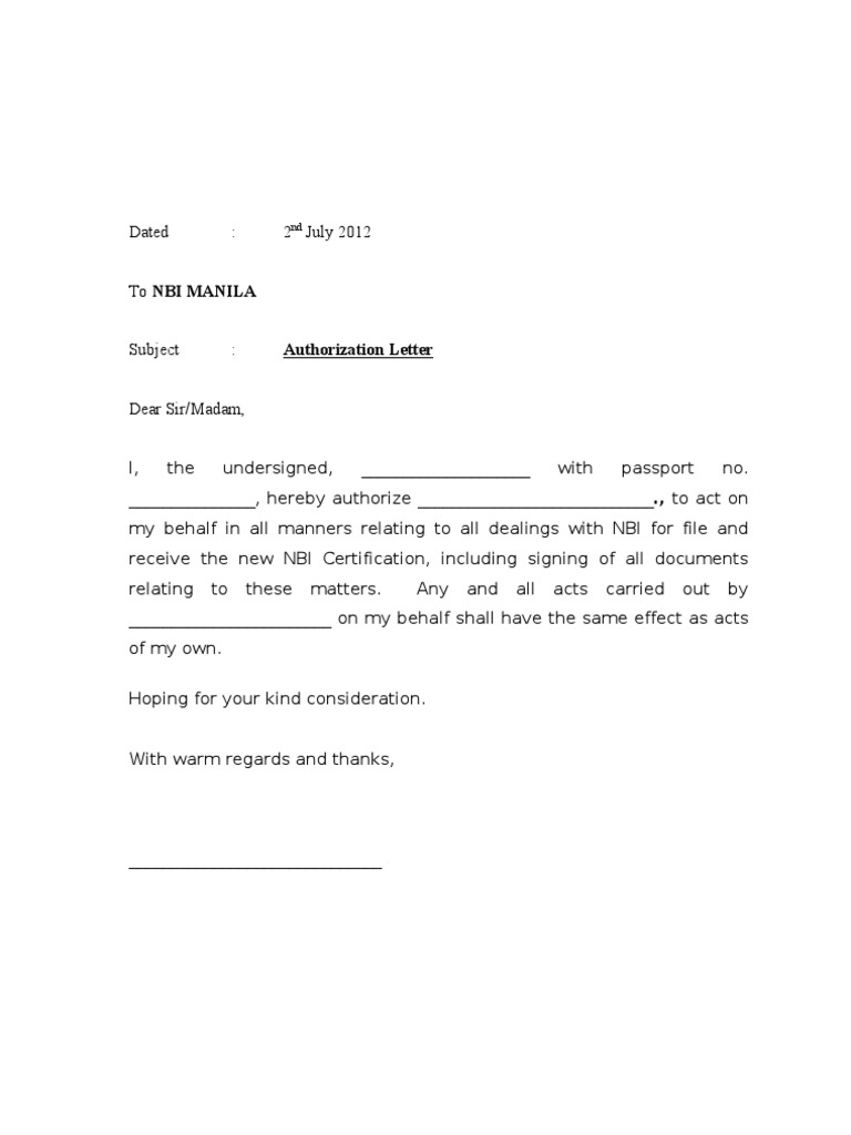 Authorisation Letter NBI – Letter of Authorization Letter