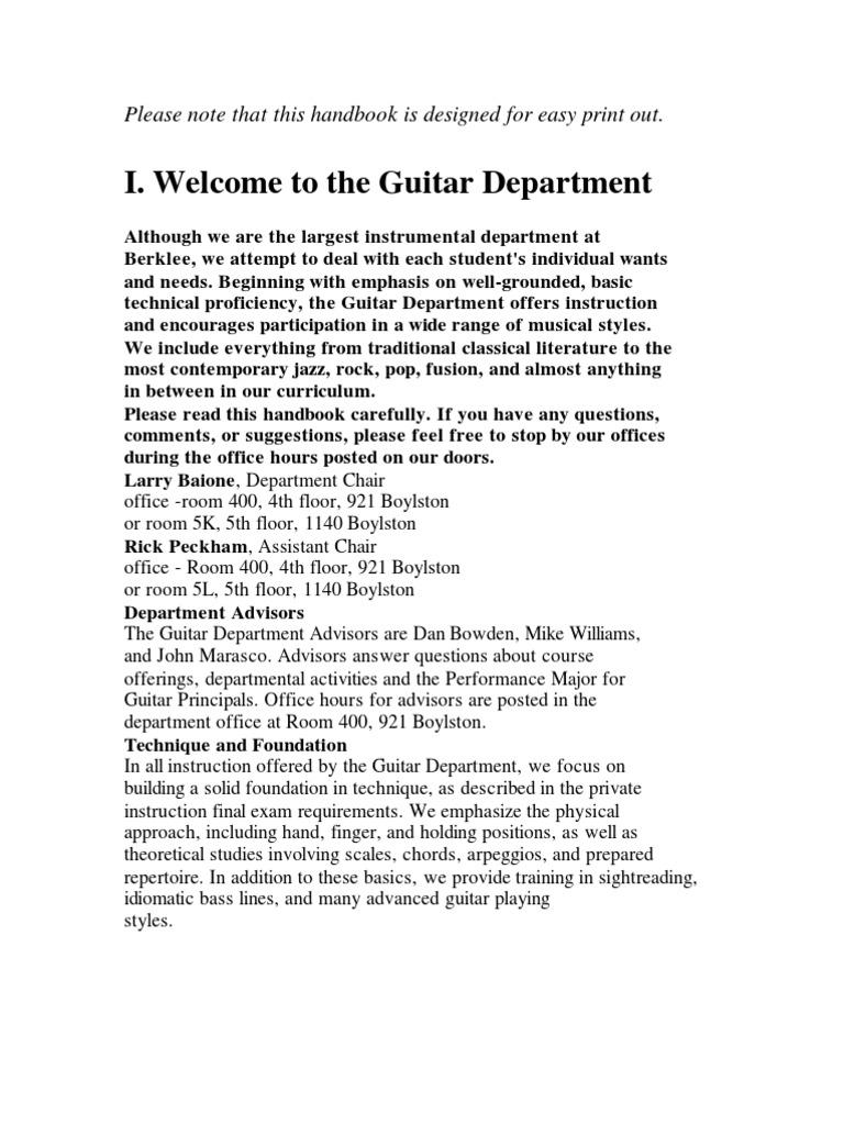Berklee Guitar Handbook Jazz Blues