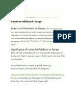 Industrial Realtions Kenya