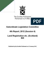 Subordinate Legislation Committee 4th Report, 2012 (Session 4)