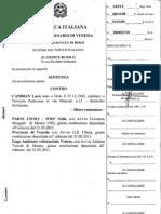 Sentenza del Tribunale di Venezia contro Loris Candian 2011