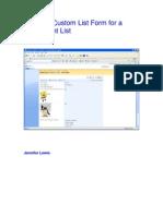 Create a Custom List Form for a Share Point List