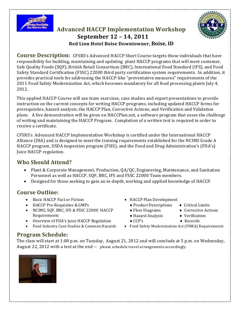 HACCP Workshop Brochure | Hazard Analysis And Critical Control