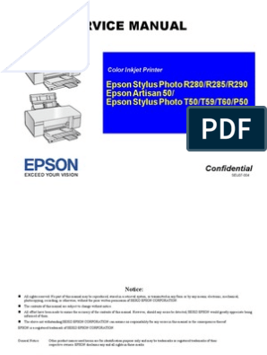 Service Manual: Epson Stylus Photo R280/R285/R290 Epson Artisan 50