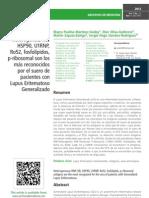 Los antígenos RNPheterogéneo, HB, HSP90, U1RNP, Ro52, fosfolípidos, p-ribosomal son los más reconocidos por el suero de pacientes con Lupus Eritematoso Generalizado
