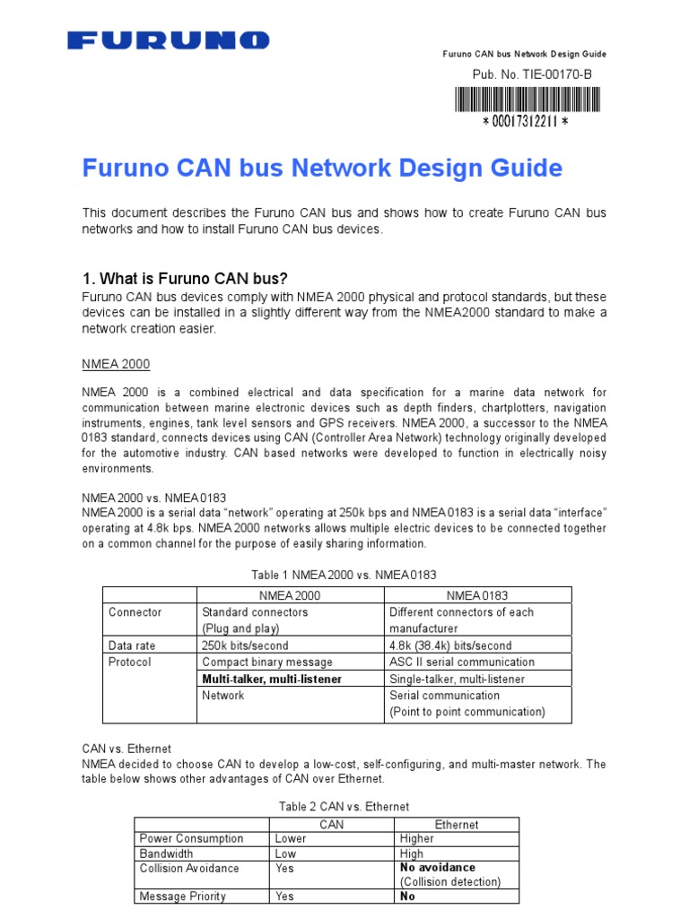 Furuno Can Bus Network Design Electrical Connector Power Supply Nmea 2000 T Wiring Diagram