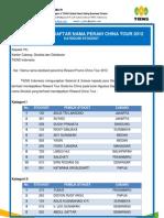 Pengumuman Daftar Nama Peraih China Tour 2012 Kategori Stockist